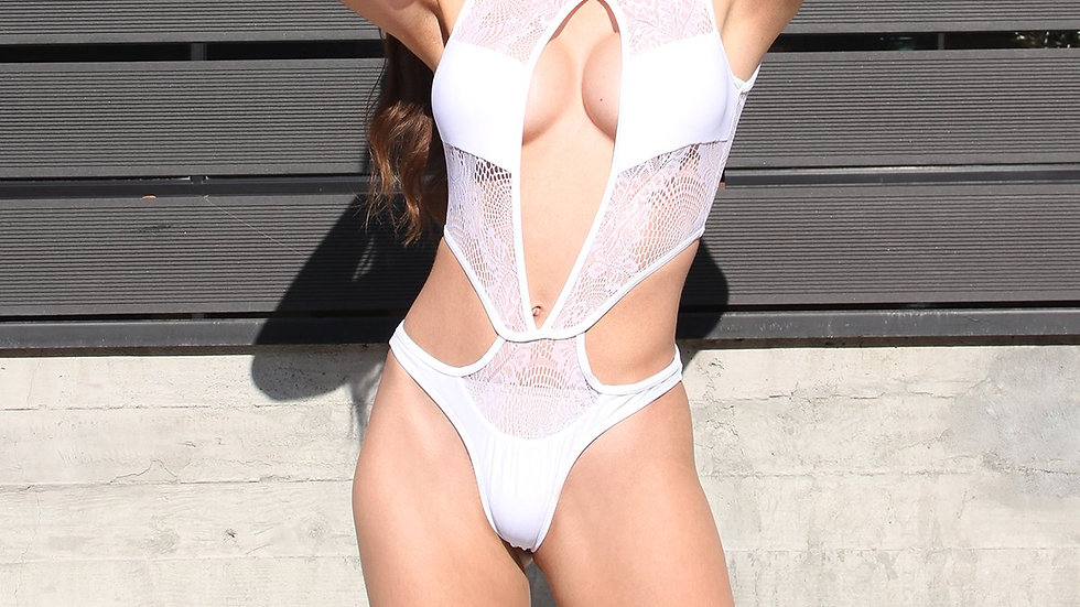 Florina Lace Detail One-Piece Swimsuit - White