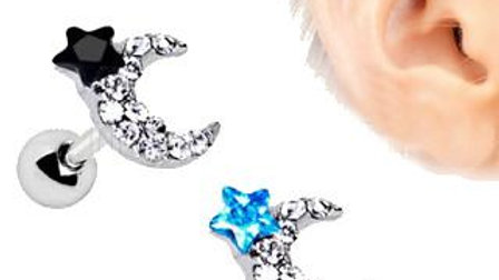 Stainless Steel Art of Brilliance to the Moon Cartilage Earring