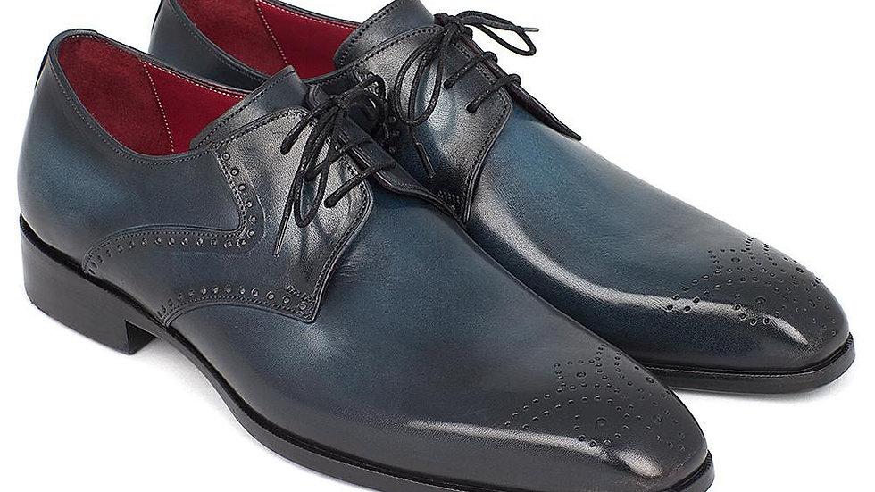 Paul Parkman Men's Navy & Blue Medallion Toe Derby Shoes (ID#6584-NAVY)