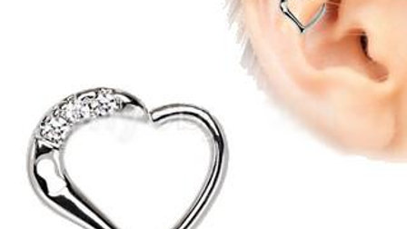 Heart Cartilage Tragus / Daith Earring With Keyhole