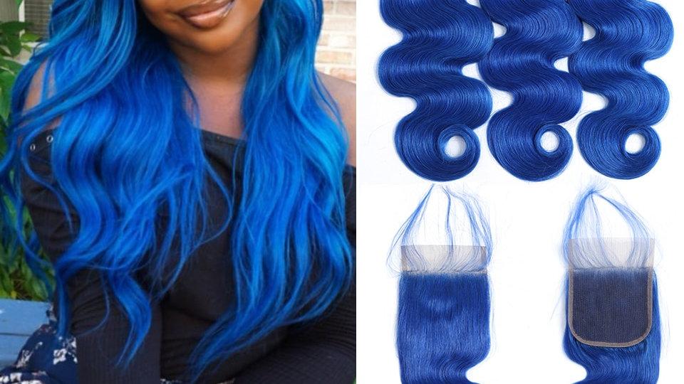 Blue Brazilian Human Hair Body Wave Bundle With Closure