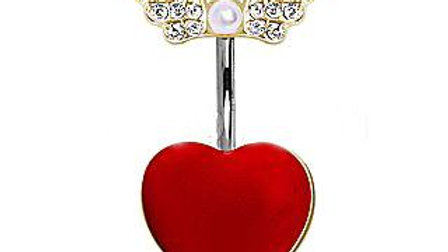 Red Heart Navel Ring