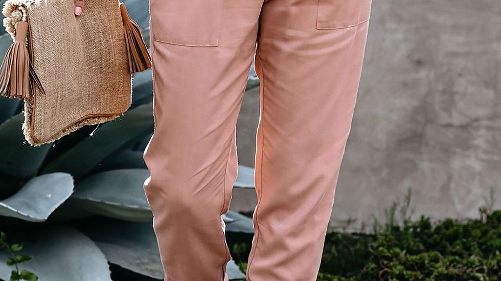 Casual Pink Pocketed Stretchy High Waistband Cotton Joggers