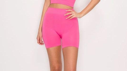 """Pink Poppy"" Biker Short Set"