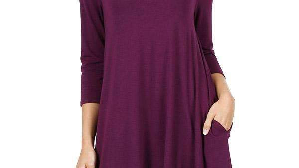 Swing Tunic With Pockets, 3/4 Sleeve (9 Colors)
