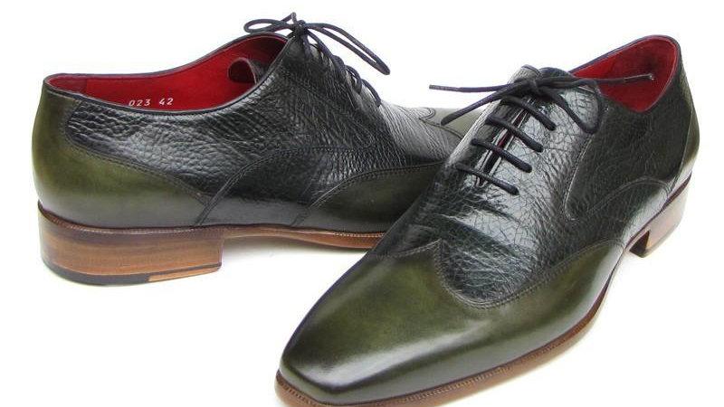 Paul Parkman Men's Wingtip Oxford Floater Leather Green (ID#023-GREEN)