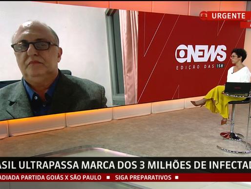 Victor Grabois, concede entrevista à Globonews sobre a marca de 100 mil óbitos por COVID-19