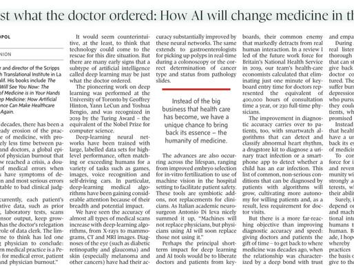 Artigo de Eric Topol sobre como #AI pode (não vai) levar a um futuro mais humano da medicina