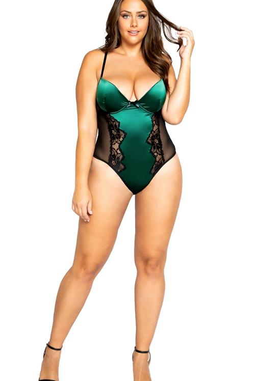 Emerald Green Satin Teddy - Plus
