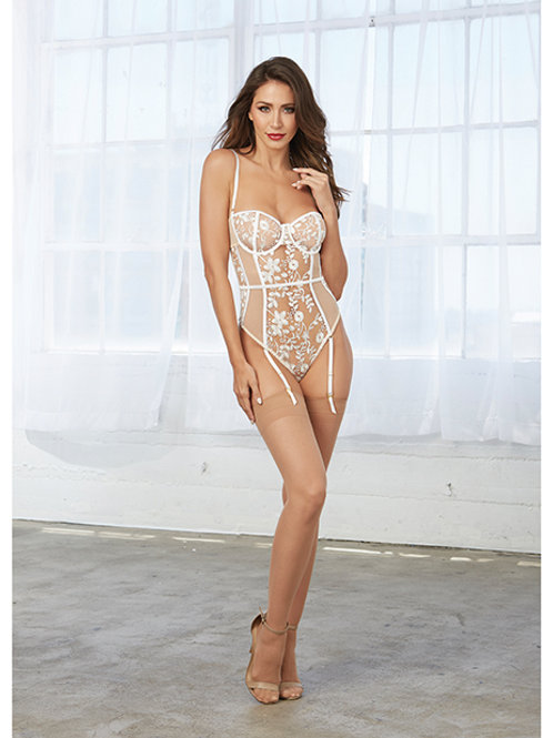 White Embroidery Nude Teddy