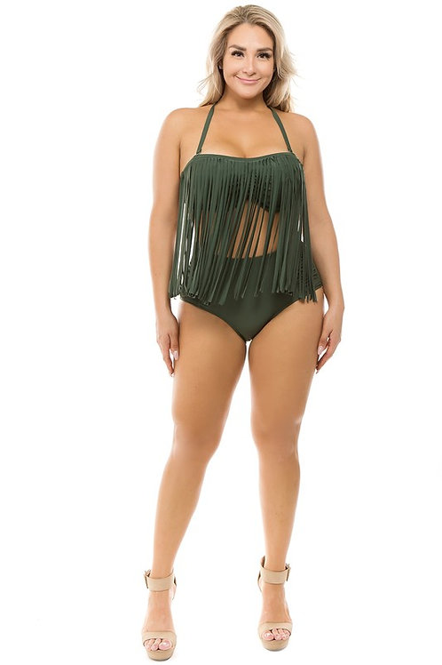 High Waist Fringe Two Piece Swimsuit