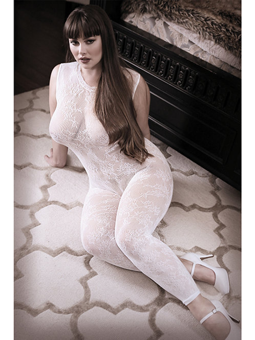 Sheer Fantasy White Lace Edge Floral
