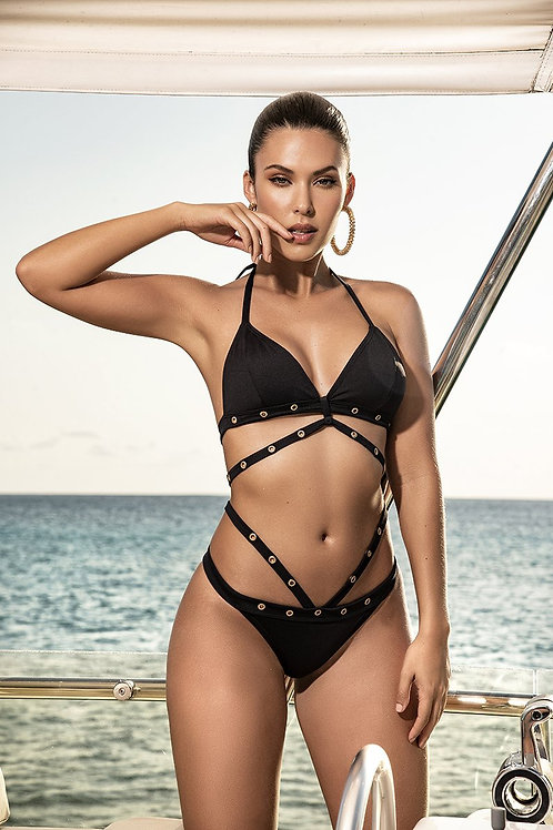 Strappy Metal Detailed Bikini Set