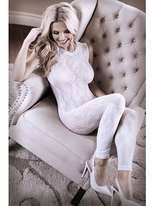 Sheer Fantasy Lace Edge White Floral Bodystocking