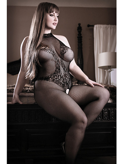 Sheer Fantasy Lace Halter Bodystocking