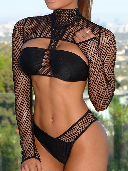 Long Sleeve Fishnet Bikini