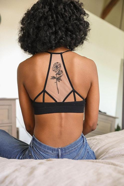 Flower Bloom Tattoo Mesh Bralette