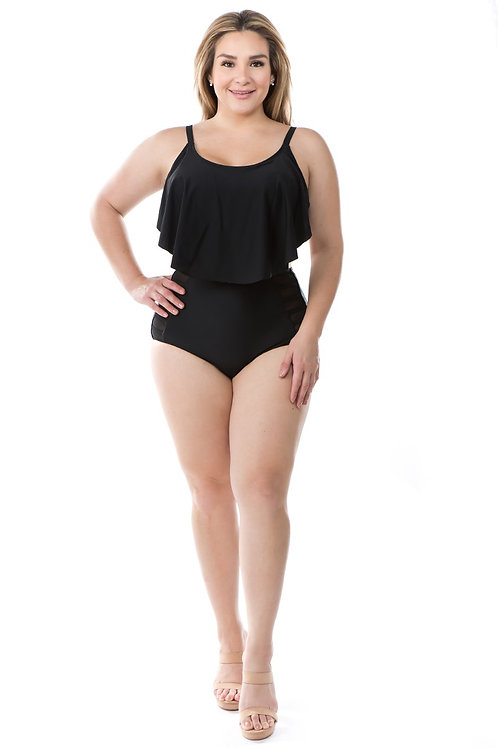 High Waist Bikini Flounce Top