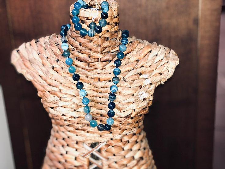 סט אגת טבעי כחול-שרשרת, צמיד ועגילים