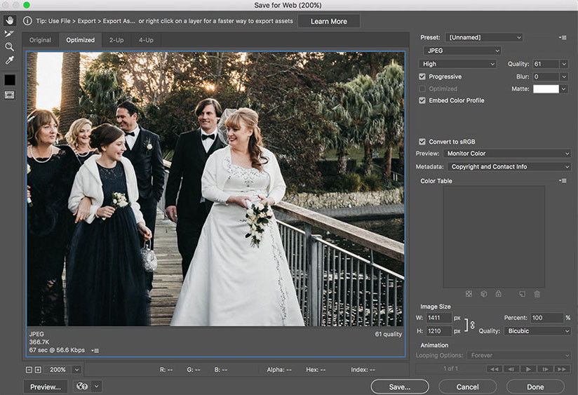How to save a jpg file as progressive on photoshop