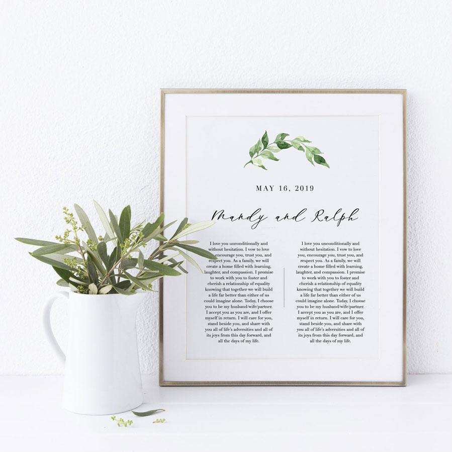 minimalist wedding vow design framed