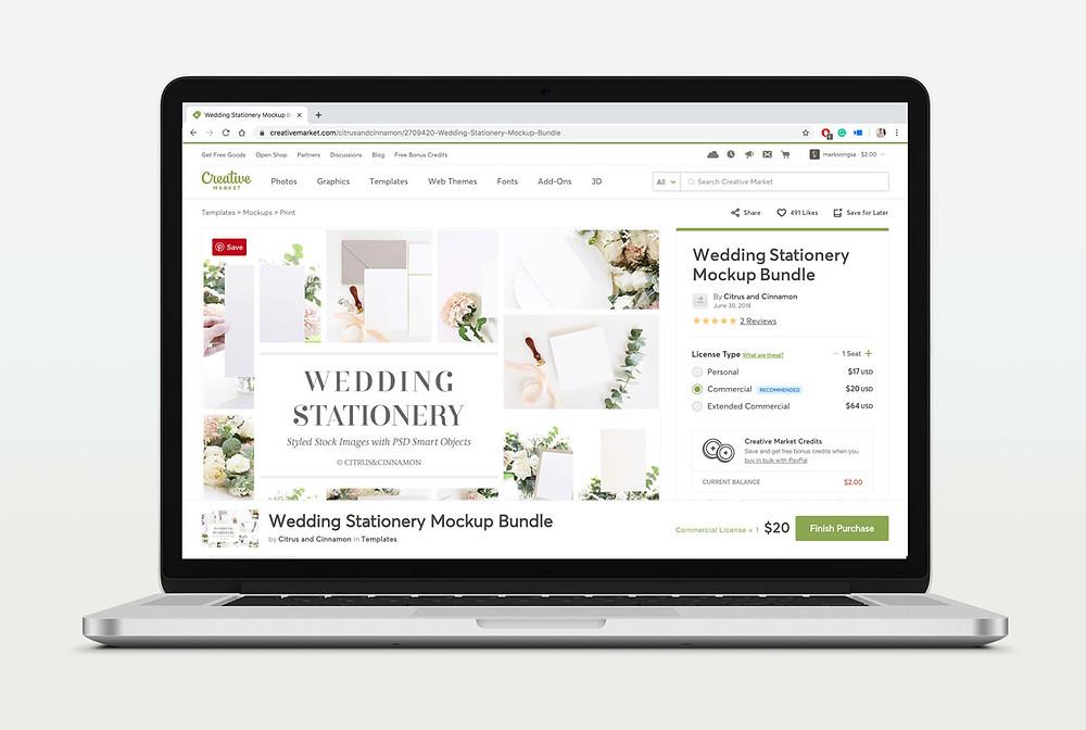 creative market wedding stationery