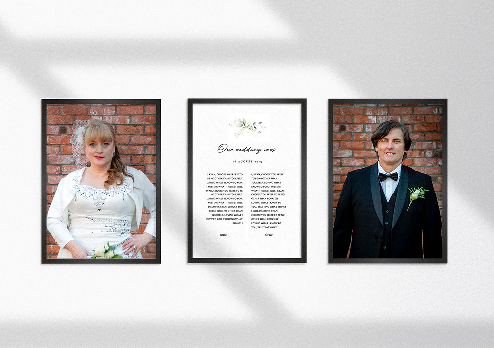 Wedding Vows framed next to bride and groom portraits