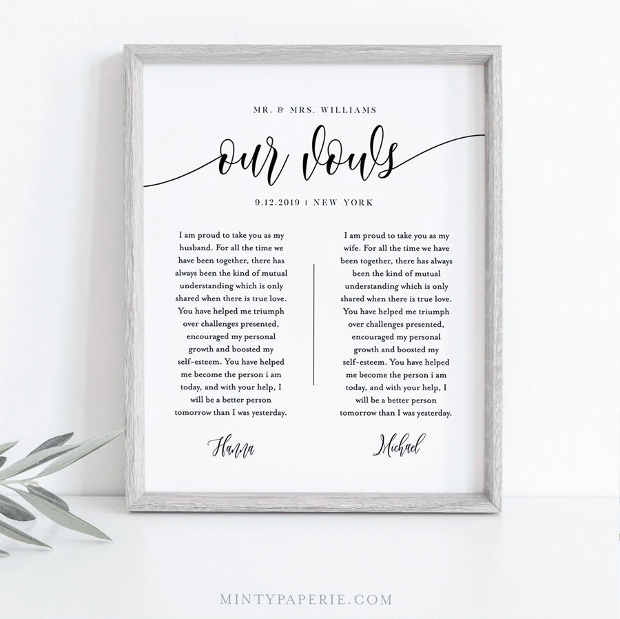 wedding vow framed on a table