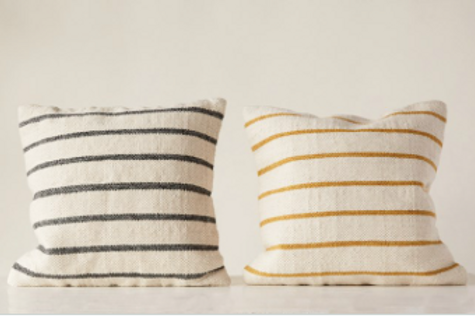 woven striped pillow, 2 colors