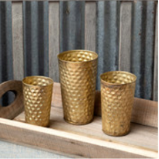 gold hammered vases