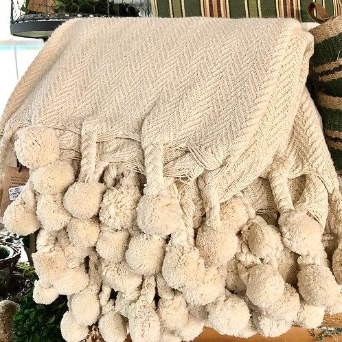 pom pom cotton throw, aqua or cream