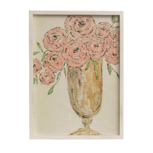 framed flowers in vase