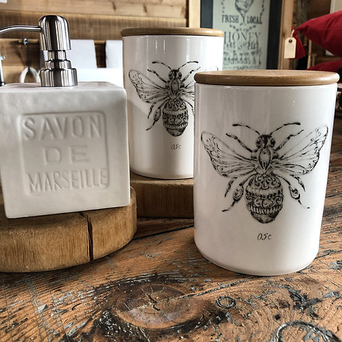 bee stoneware jar or pitcher