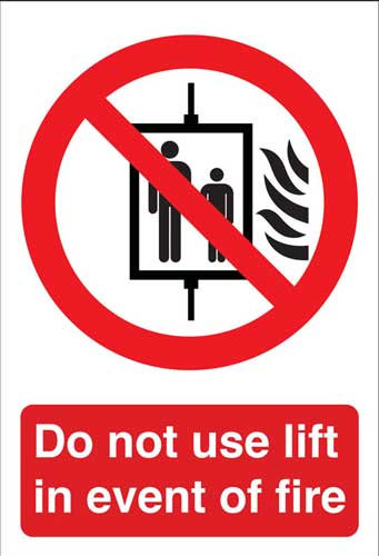 do not use lift in event of fire, health and safety