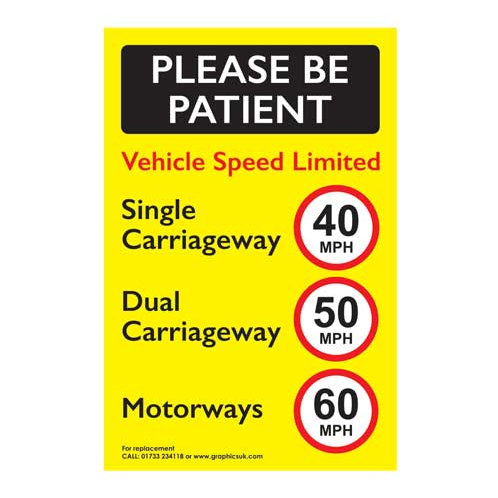 Vehicle Speed Limited Sticker 40 / 50 / 60 MPH Van / Lorry / Trucks / HGVs