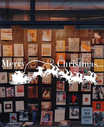 santa sleigh window decoration, merry christmas window sticker