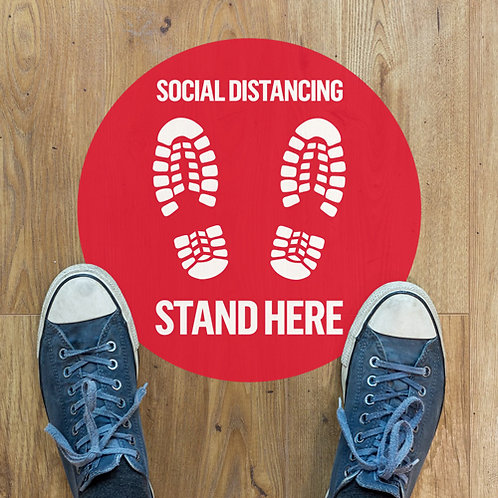 social distancing stand here floor stickers
