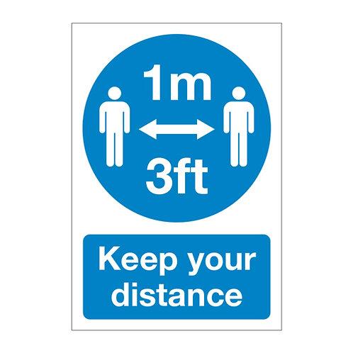 keep your distance, 1 metre 3 ft apart social distancing, sticker