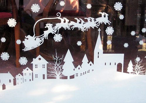 christmas scene window decoration, christmas stickers