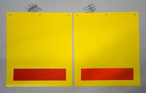 tail lift flags, yellow pvc, rivets