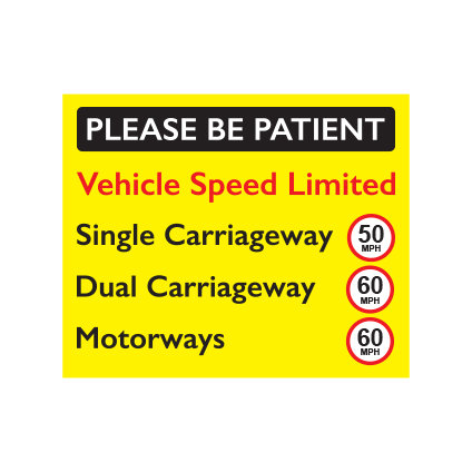 speed limit, please be patient, speed awareness sticker 50mph 60mph
