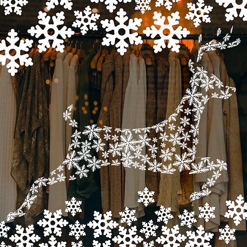 christmas reindeer, snowflakes, window decoration sticker