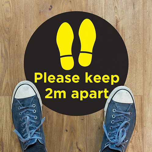 Social Distancing Please Keep 2 Metres Apart Black Floor Stickers