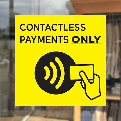 contactless payments only window sticker
