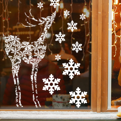 christmas decorations, reindeer window stickers, snowflakes window stickers