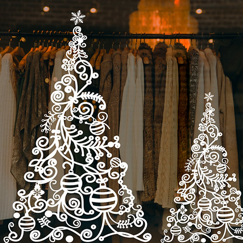 christmas window decorations, bauble tree stickers