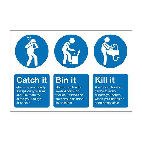 wash your hands, catch it kill it bin it sticker, coronavirus