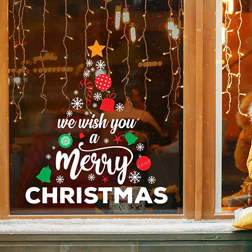 we wish you a merry christmas tree, window decoration