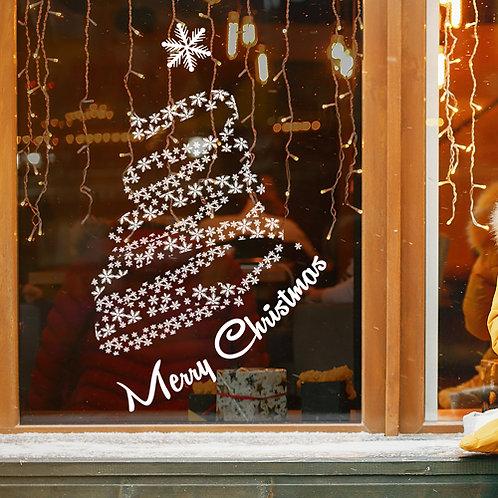 christmas tree window decoration, snowflakes tree