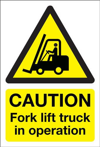 caution fork lift truck, health and safety
